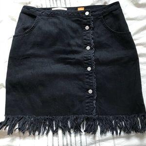 Anthropologie Pilcro Denim Fringe Skirt size 14